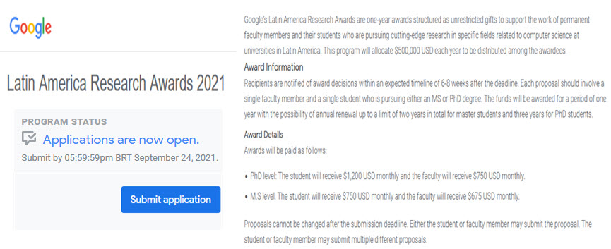 Latin America Research Awards 2021 - Convocatoria Google
