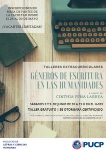 Taller extracurricular «Géneros de escritura en las Humanidades»