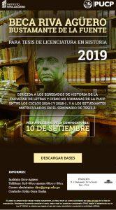 """CONVOCATORIA """"BECA PARA TESIS DE LICENCIATURA Y MAESTRÍA RIVA-AGÜERO BUSTAMANTE DE LA FUENTE"""" 2019"""