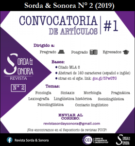 Call for Papers: Revista Sorda y Sonora