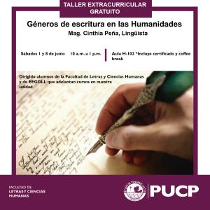"""Taller extracurricular gratuito   """"Géneros de escritura en las Humanidades"""""""