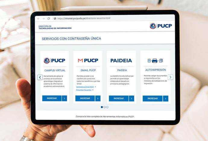 Nueva y mejor interfaz en la página de servicios PUCP con contraseña única
